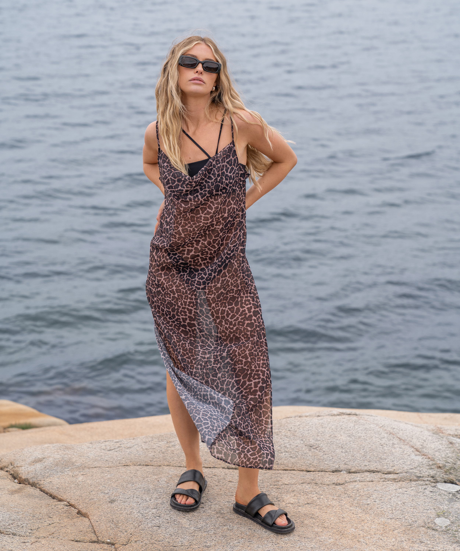 Midi beach dress Animal HKM x NA-KD, Brown, main
