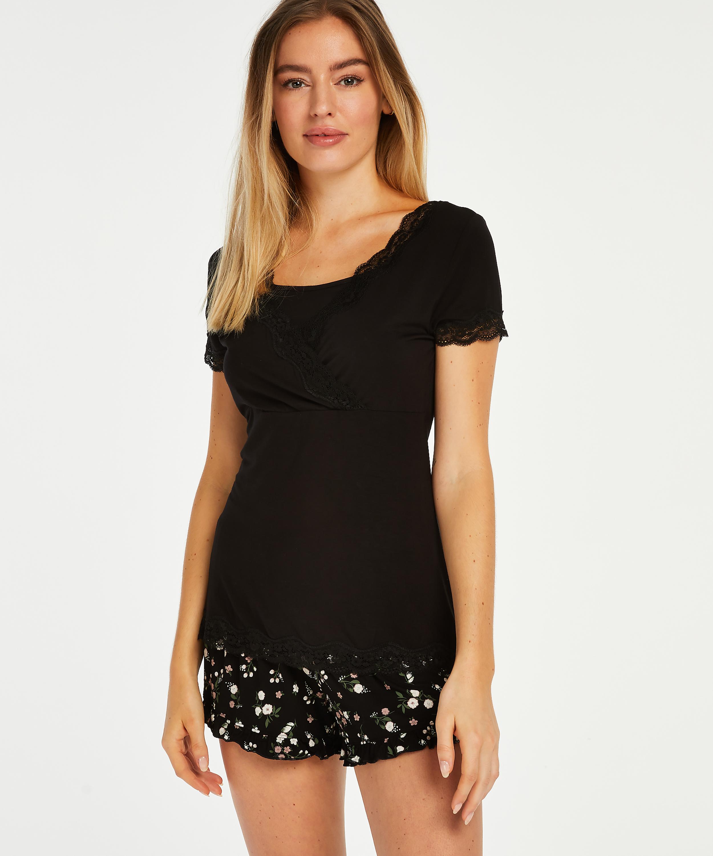 Pregnancy pyjama set Ditzy Flower, Black, main