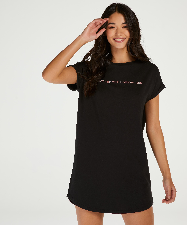 Round Neck Nightshirt, Black, main