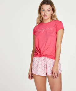 Short sleeve Jersey Knot pyjama top., Red
