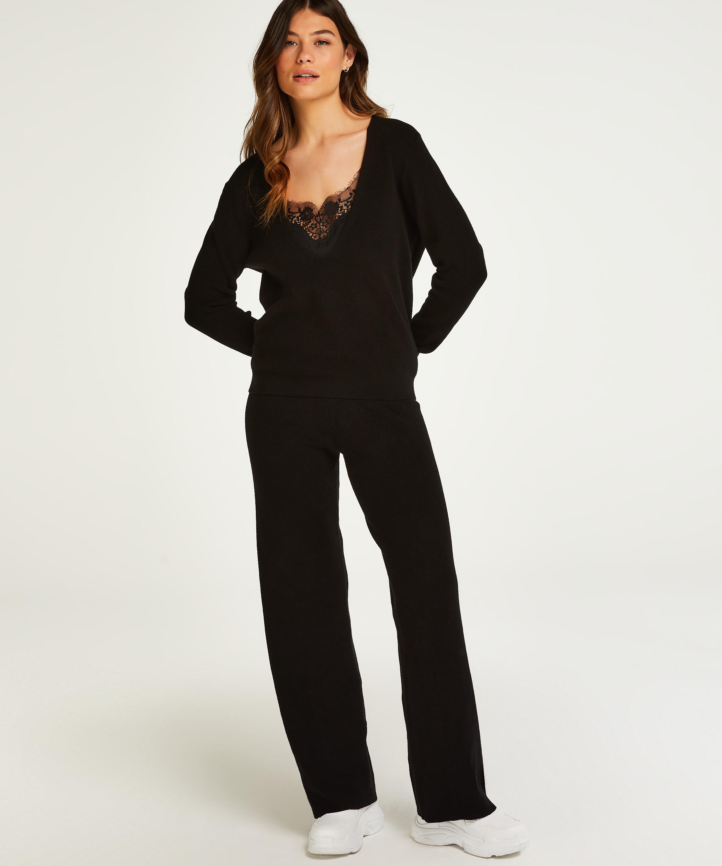 Premium Ribbed Long-Sleeved Top, Black, main