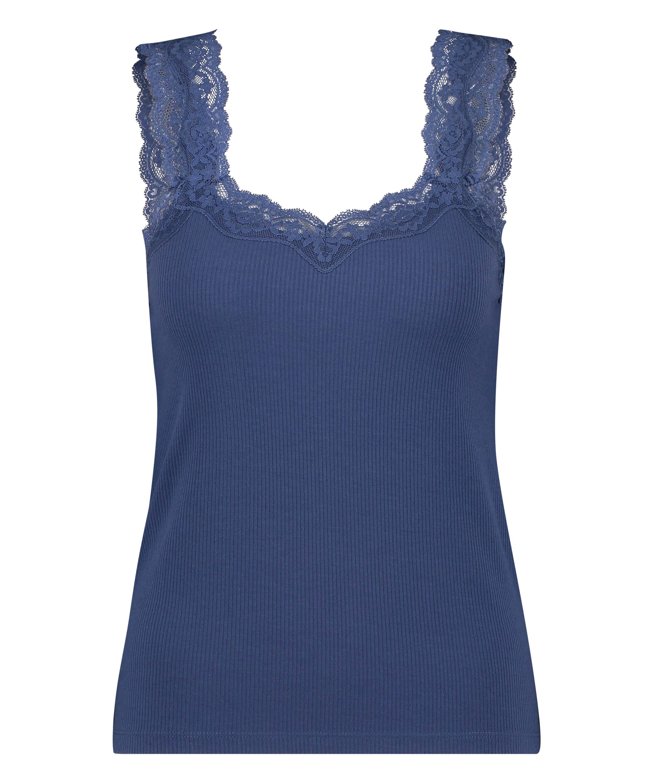 Ribbed Lace Singlet, Blue, main