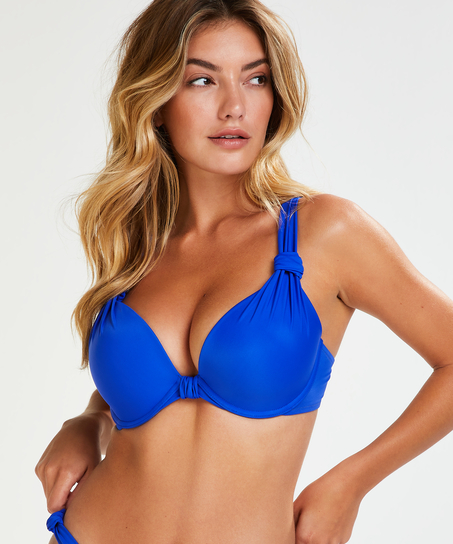 Padded underwired bikini top Luxe Cup E +, Blue