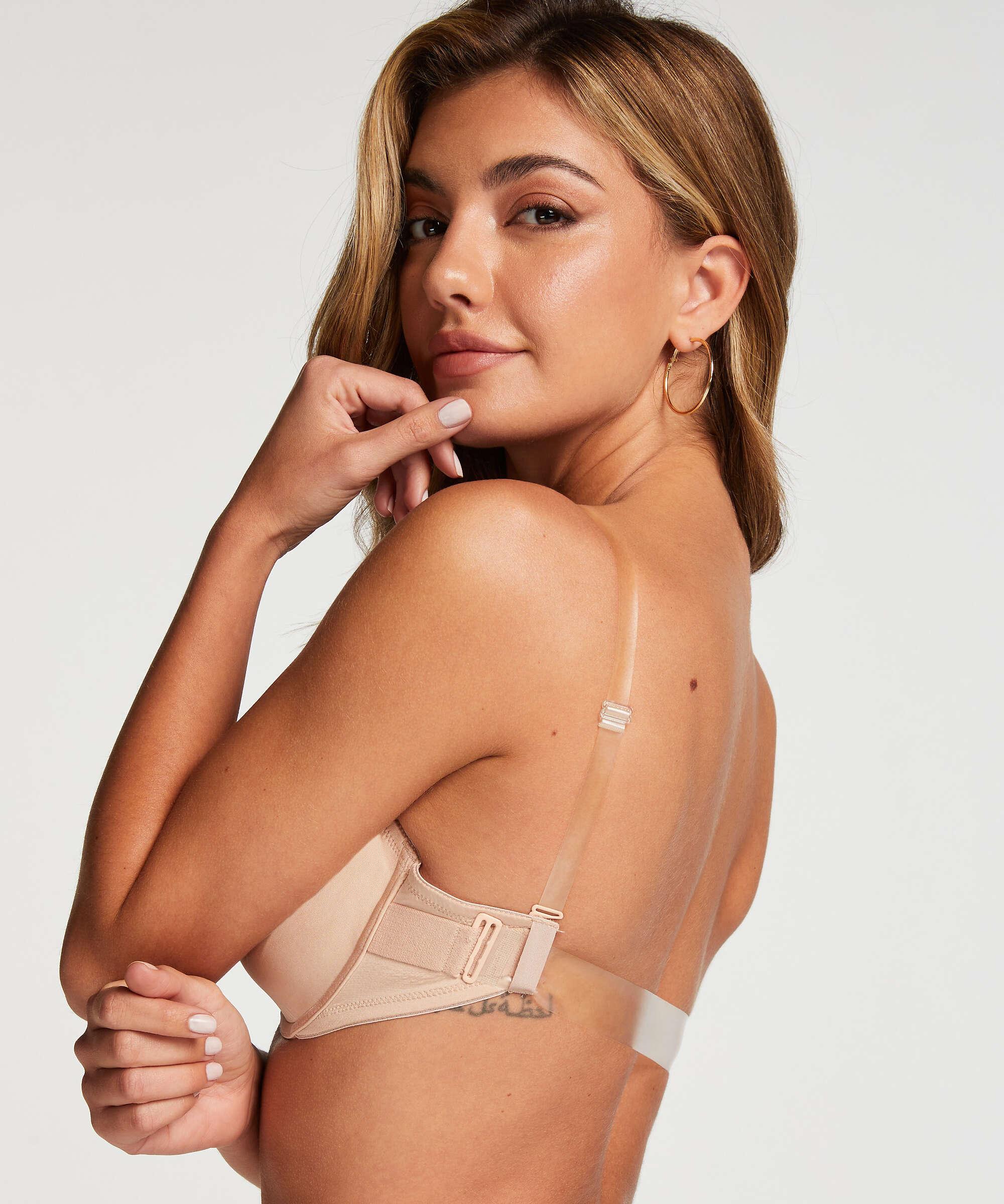 Padded Underwired Bra transparent back, Beige, main
