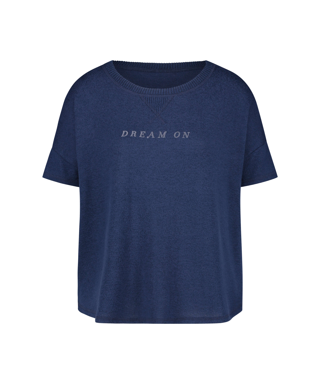 Short sleeve pyjama top in brushed jersey, Blue, main
