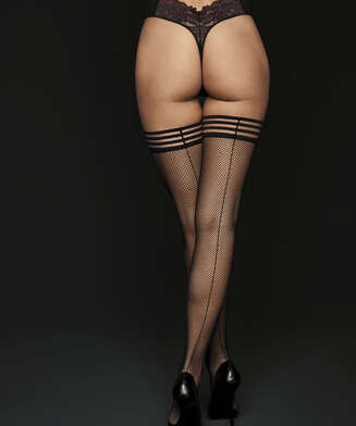Private Striped Top Fishnet Hold-Ups, Black