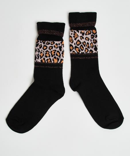 Leopard print socks, Black