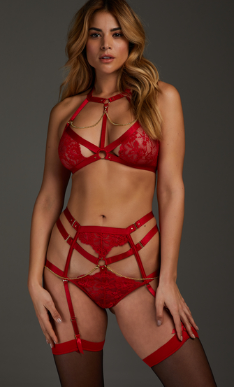 Tenessee open crotch knickers, Red