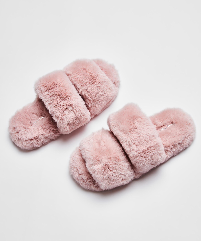 Fake Fur Slippers, Pink, main