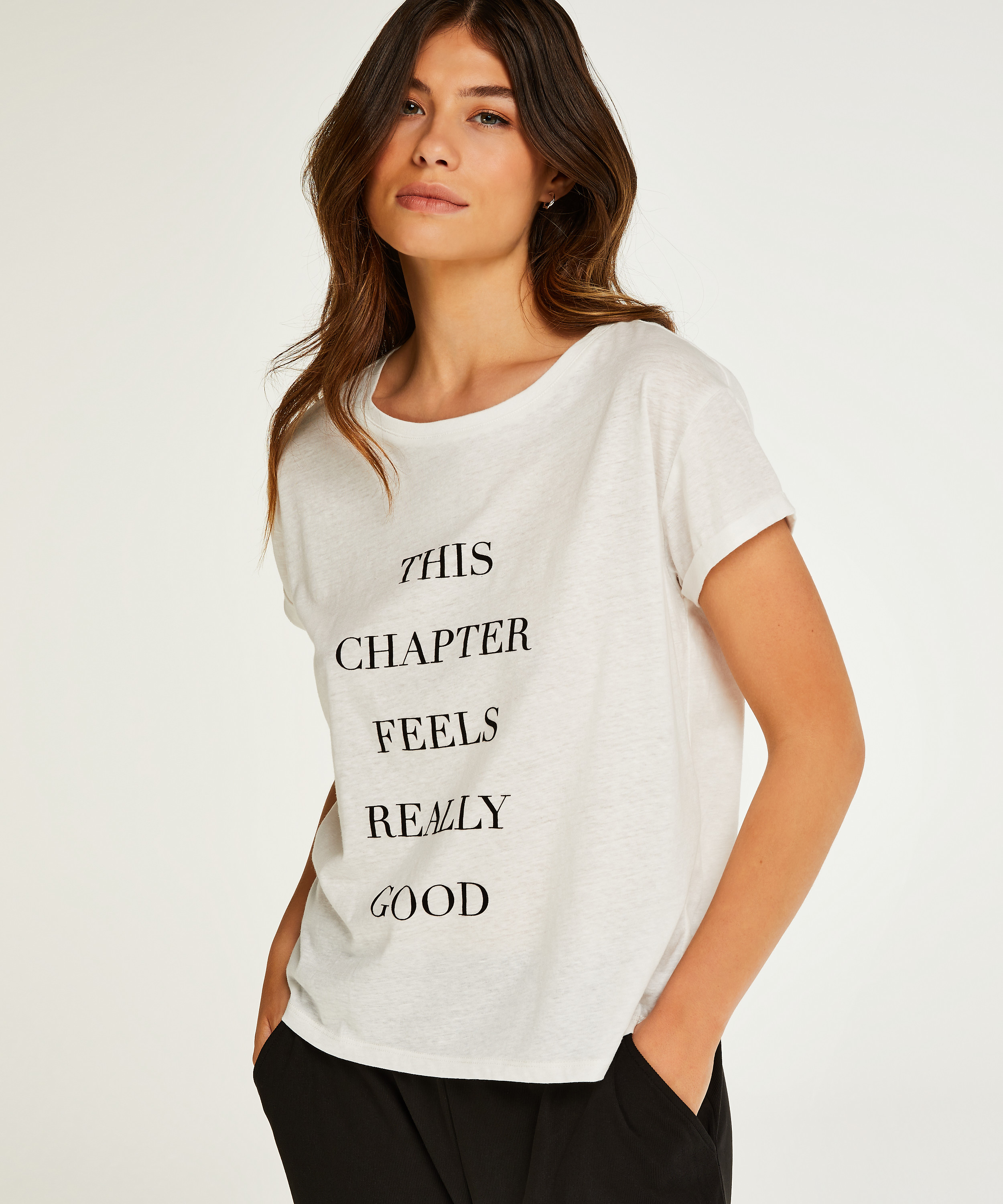 Quote Short-Sleeved Top, White, main