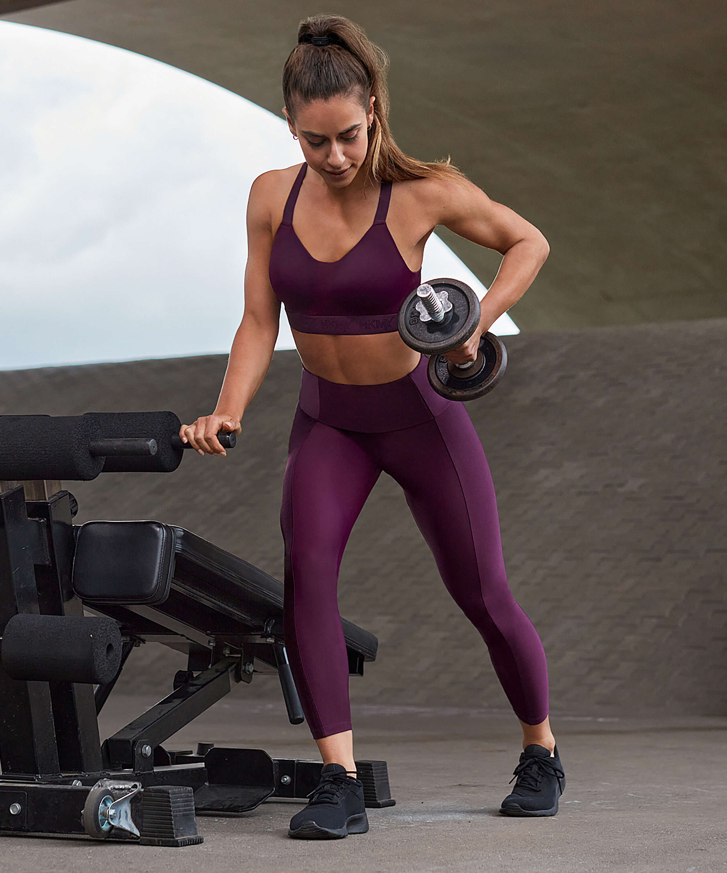 HKMX High waisted sports leggings Shine On, Purple, main