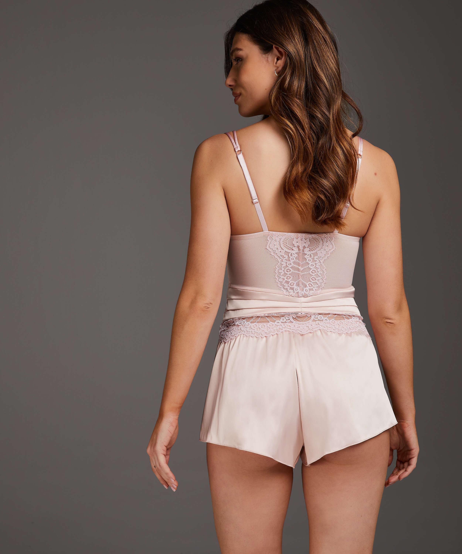 Amelia Tap Satin Shorts, Pink, main