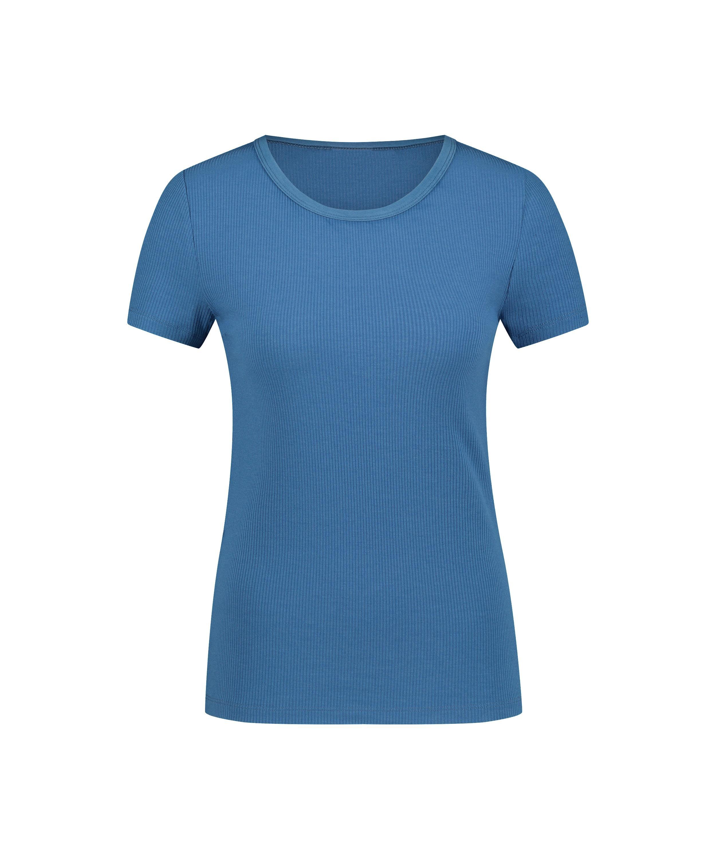 Ribbed Crew Neck Short-Sleeved Pyjama Top, Blue, main
