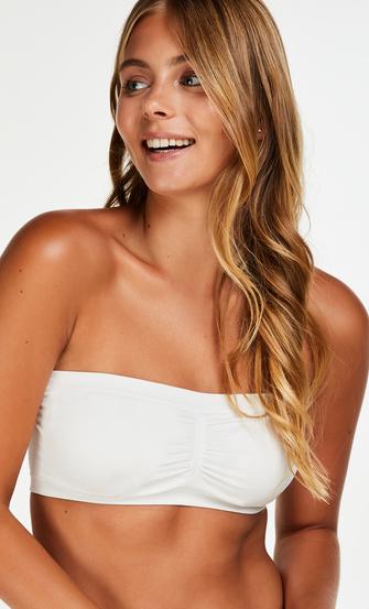 Seamless bandeau top, White
