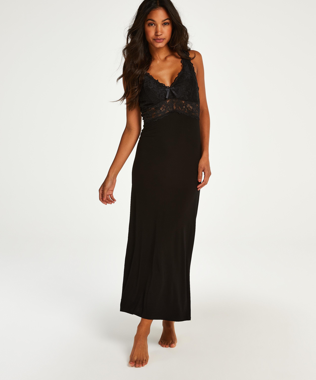 Nora Lace Long Slip Dress, Black, main