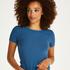 Ribbed Crew Neck Short-Sleeved Pyjama Top, Blue