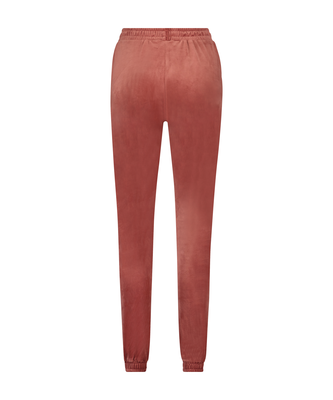 Velour Jogging Pants Pin-tucked, Pink, main