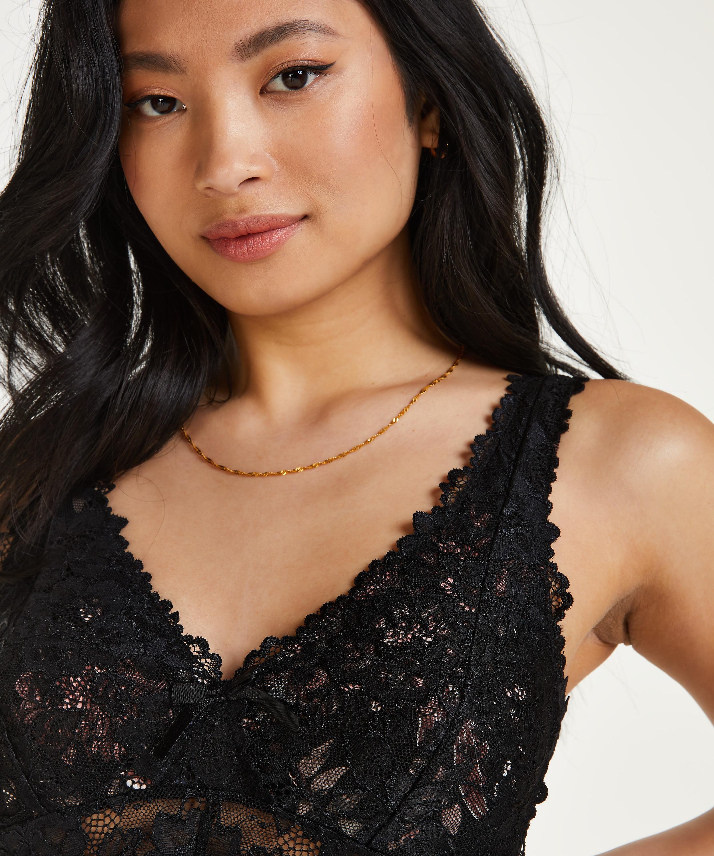 Nora Lace Slip Dress, Black, main