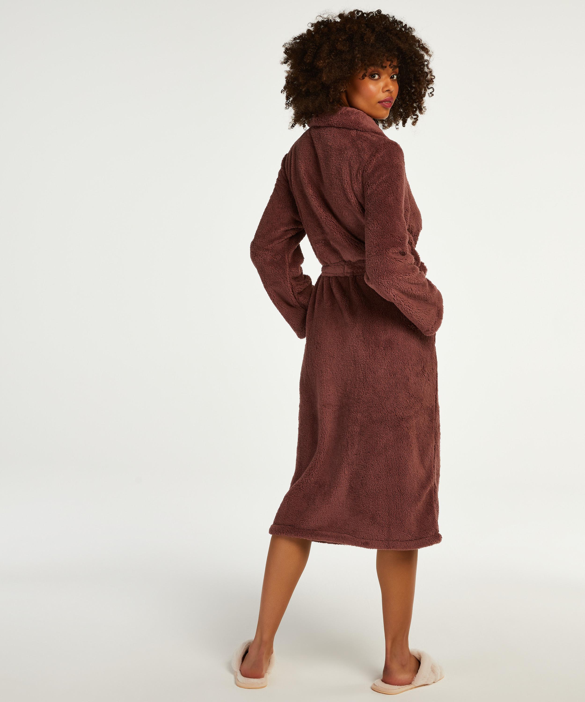 Long Fleece Bathrobe, Pink, main