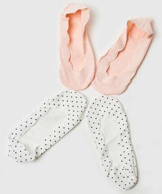 2 pairs Lasercut Footsies, White
