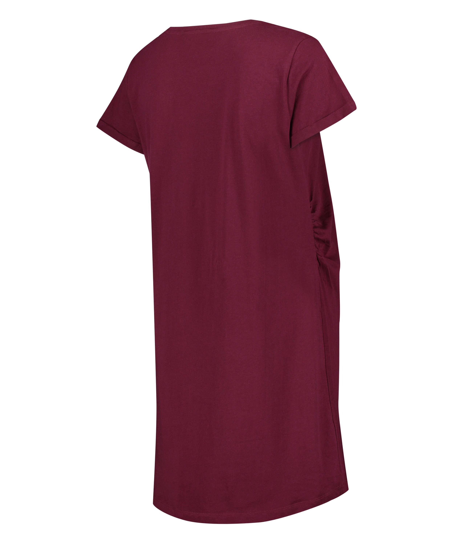 Short-Sleeved Maternity Nightshirt, Red, main