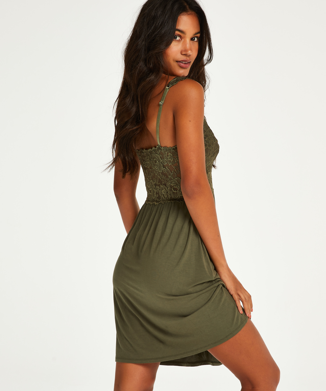 Nora Lace Slip Dress, Green, main