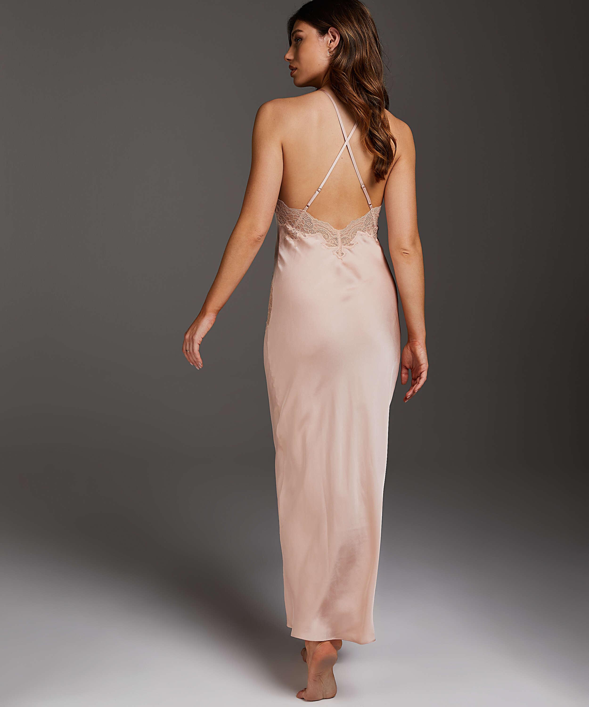 Long Satin Slip Dress, Beige, main