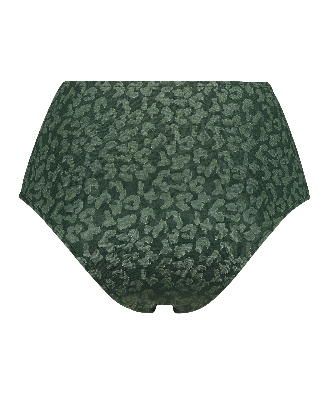 Tonal Leo high-cut bikini bottoms, Green, main