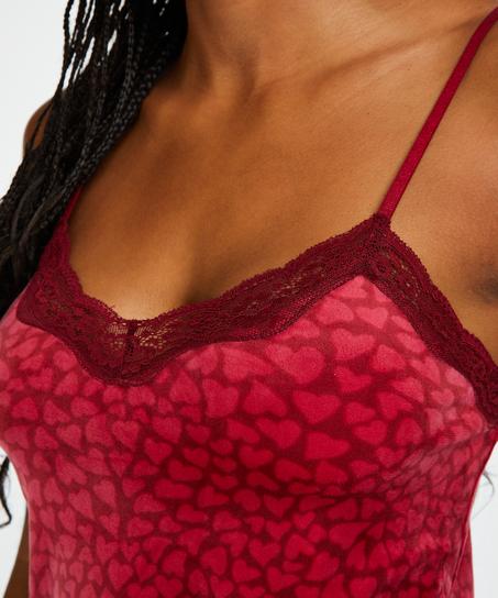Velvet lace cami, Red