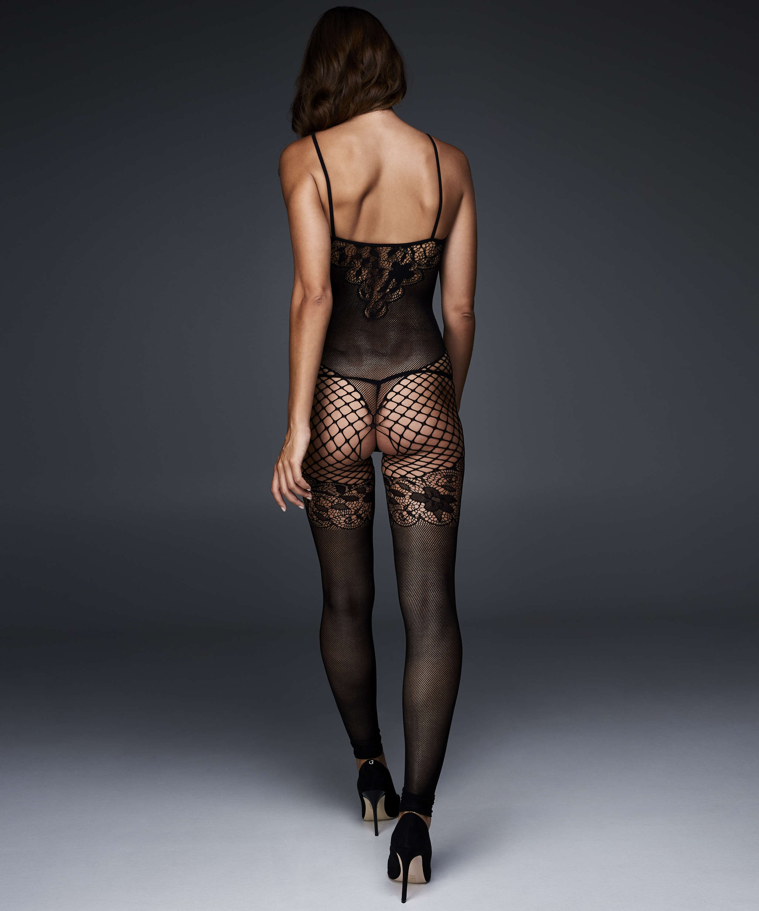 Fishnet Lace Mix Catsuit with open crotch, Black, main