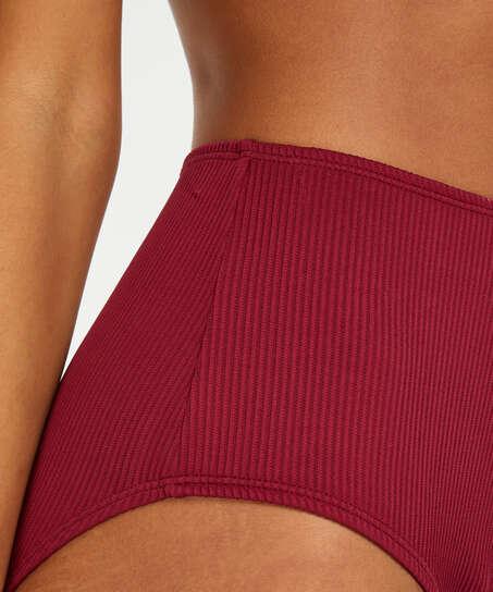 Golden Rings high bikini bottoms, Red