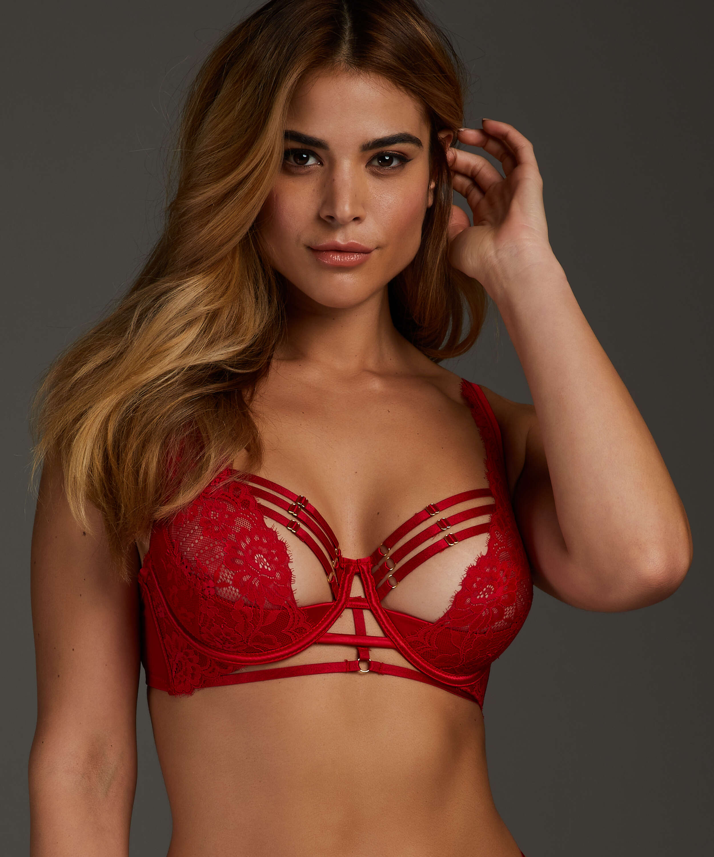Iggy half padded cup underwired bra, Red, main
