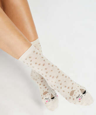 2 Pairs Cotton Socks, Beige