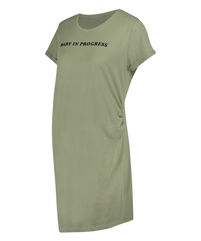 Short-Sleeved Maternity Nightshirt, Green, main