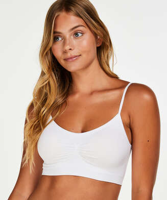 Seamless strappy top, White