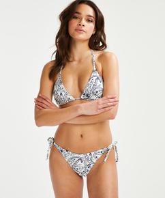 Paisley Brazilian tanga bikini bottoms, White