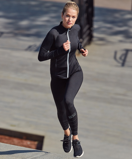 HKMX Run Baby Run Regular Waist Leggings, Black