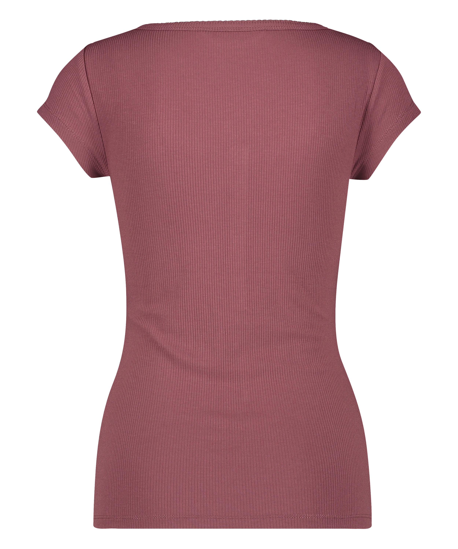 Henley Short Sleeved Pyjama Top, Pink, main