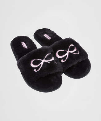 Bow Fake Fur Top slipper, Black