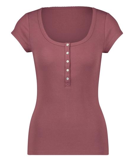 Henley Short Sleeved Pyjama Top, Pink