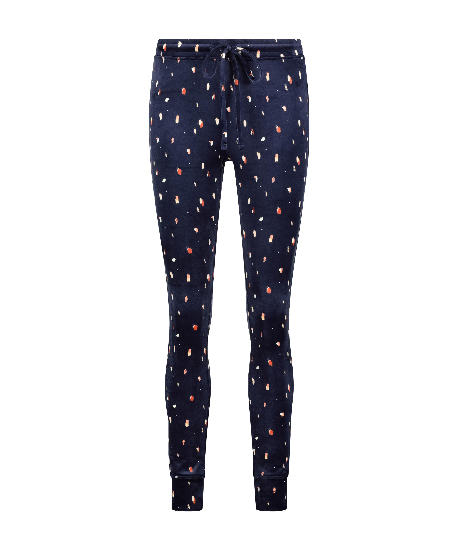 Velvet leggings, Blue, main