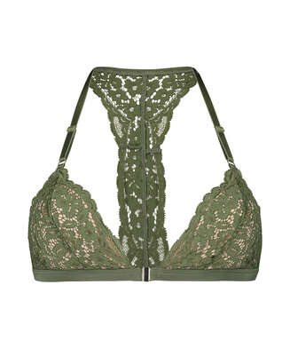 Rose Padded Triangle Bralette, Green