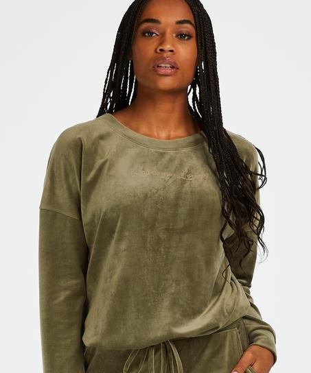 Long-sleeved Velours top, Green