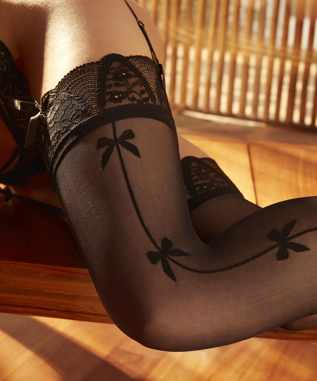 Bow Stockings Rebecca Mir, Black, main