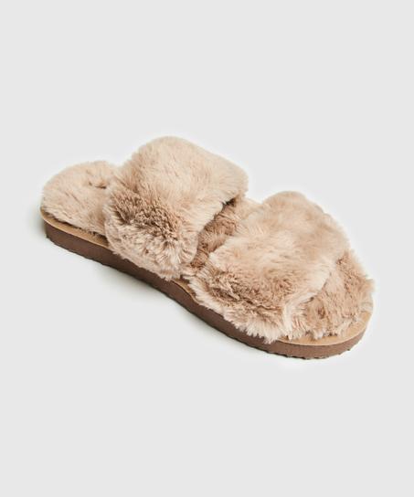 Fake Fur Slippers, Brown