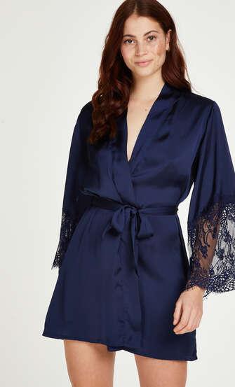 Satin Kimono, Blue
