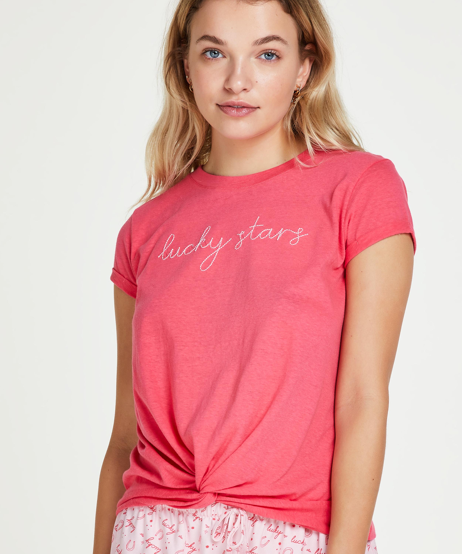 Short sleeve Jersey Knot pyjama top., Red, main