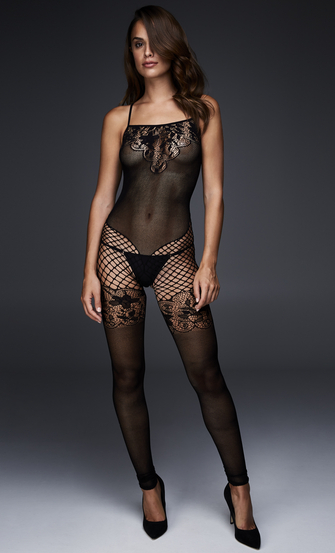 Fishnet Lace Mix Catsuit with open crotch, Black