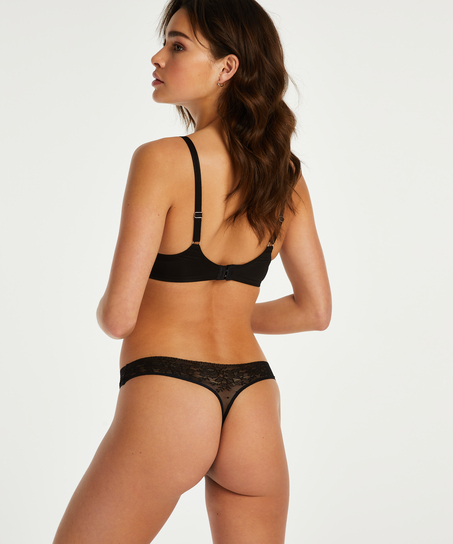 Allover Lace Invisible thong, Black