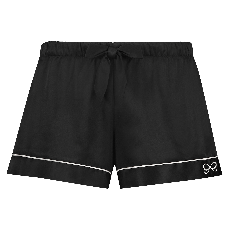 Satin Lace Pyjama Shorts, Black, main